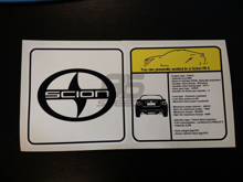 Picture of Scion FR-S Visor Spec Sheet Sticker