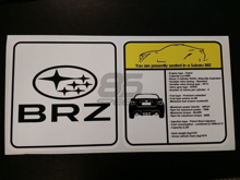 Picture of Subaru BRZ Visor Spec Sheet Sticker