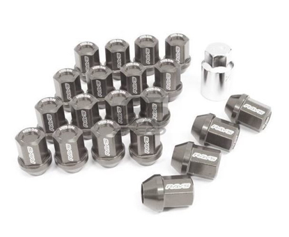 Picture of DURA-NUT L32 STRAIGHT TYPE 12X1.25 16 LUG + 4 LOCK SET -  GUNMETTALIC ALMITE