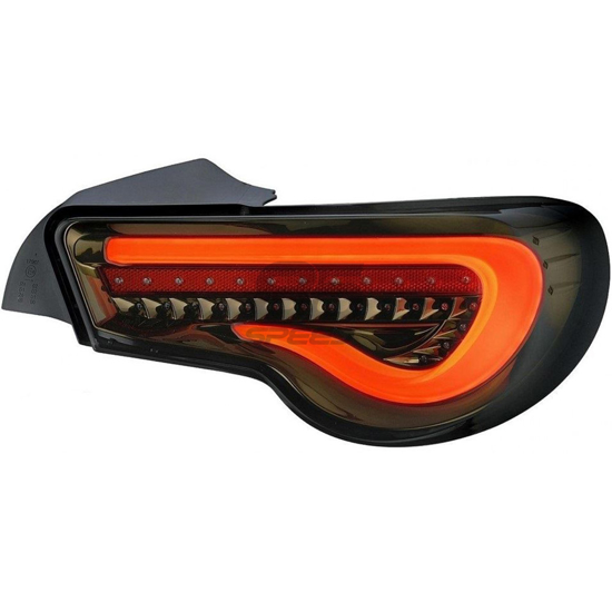 Picture of SGQ Valenti Style Sequential LED Taillights - Smoke Lens / White Bar / Black with Chrome Gold Housing